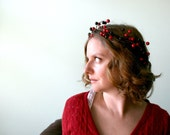 CLEARANCE - Winter Berry Woodland Crown - Cranberry Red and Deep Purple Woodland Headband - Wedding - Christmas - Bridesmaid