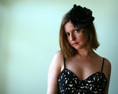 SALE - Flower Fascinator in Black Velvet - Black as Night Rose with Black Polka Dot Netting and Feather Trim