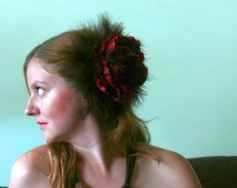 CLEARANCE - Feathered Flower Headpiece Feather Layered Fascinator