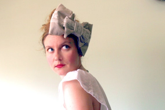 CLEARANCE -  Giant Bow Headpiece in Coffee Break - Oversized Upcycled Business Shirt and Vintage Lace Bow Fascinator