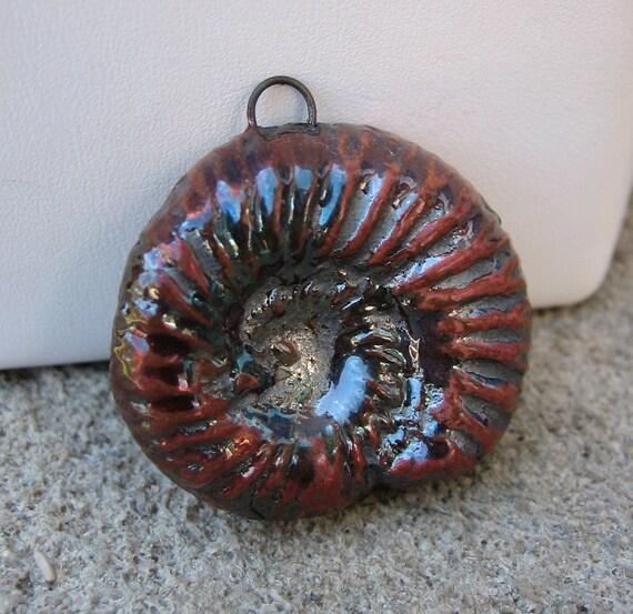 Raku Ammonite Pendant