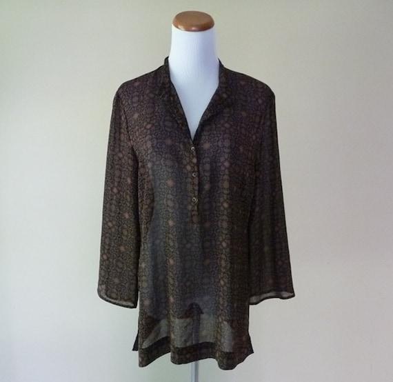Vintage 70s Sheer Brown Pattern Blouse