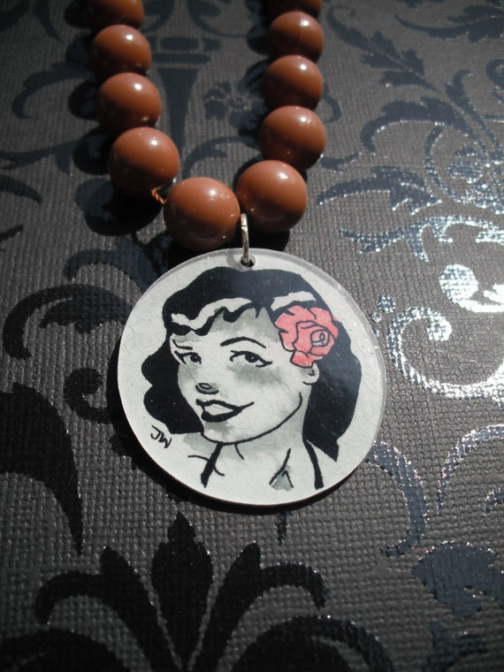 Bettie Page - Hand painted necklace