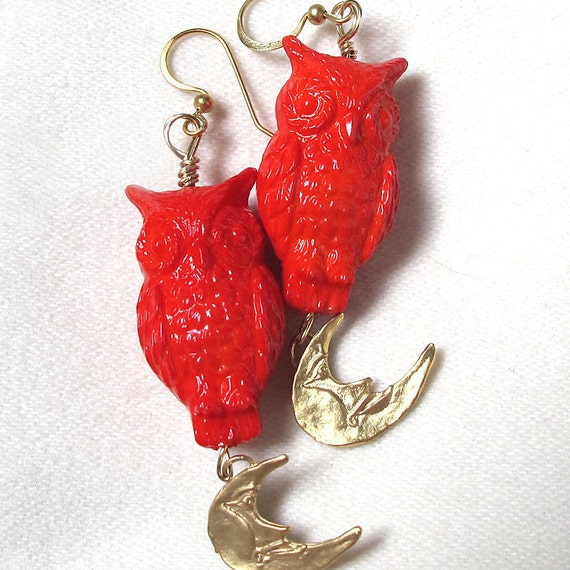 Owl Earrings Vintage Beads Vermeil Moon Matte Gold