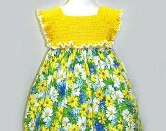Girls Yellow Dress, Yellow Dress, Yellow Floral Dress, Yellow School Dress, Girls Yellow Party Dress
