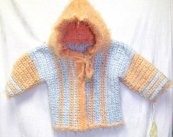 Peach and Blue Baby Sweater, Peach Sweater With Hood, Peach Fall Sweater, Baby Hoodie, Fall Baby Sweater, Peach & Blue Baby Hoodie