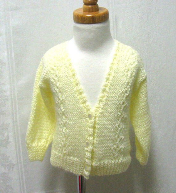 Childs Knit Cardigan, Child's Cream Sweater, Cream Cardigan, Knit Cardigan, Lightweight Hand Knit Sweater, Cable Knit Sweater