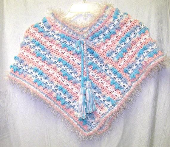 Girls Pink & White Poncho, Girls Poncho, Pastel Cotton Poncho, Girls Pink and Blue Poncho, Girls Blue and White Poncho, Girls School Poncho