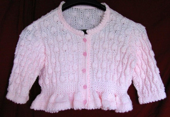 Girls  Pink Sweater, Hand Knit Pink Sweater, Pink Sweater, Girl's Pink Cable Knit Sweater, Girl's Pink Sweater, Pink Handknit Sweater