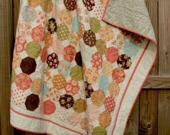 custom geometric throw quilt (54x63)