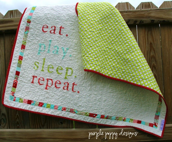 custom eat.play.sleep.repeat baby quilt (40x41) in your choice of colors