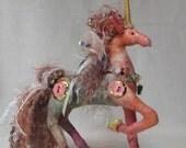 Pink Unicorn Princess Art Doll, Cloth figurine, Magical