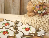Vintage Flower on Cream Drawer Pulls Kitschy and Sweet