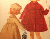 "RARE 1960's Child's Coat & Hat - McCalls 5615 ""Not for Chubby Girls"" Size 4"