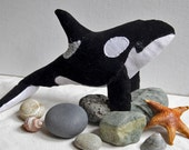 Orca Whale No. 3 - Hand Stitched Soft Sculpture