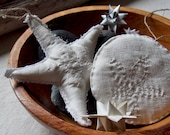 Sea Star & Sand Dollar - Set of 2 Hand stitched soft sculpture ornaments