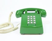 Vintage Phone Green push button telephone RESERVED