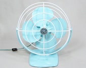 Vintage Electric Fan Aqua Blue