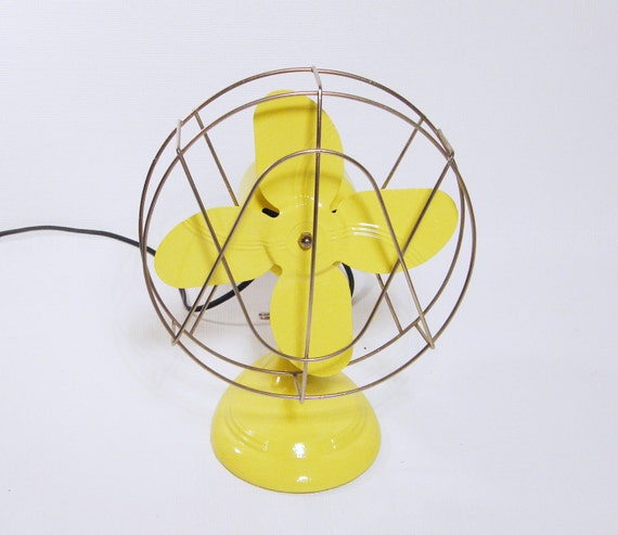 RESERVED Vintage YELLOW Fan small electric table top fan