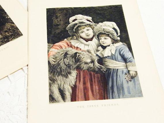 3 Victorian engravings on paper Antique ephemera