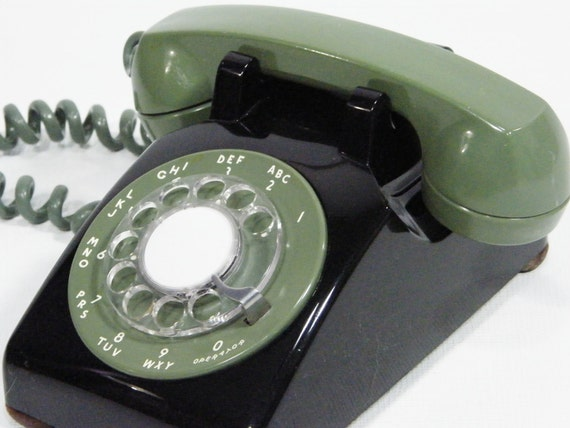Vintage Telephones Green and Black  / all black / rotary phones RESERVED listing