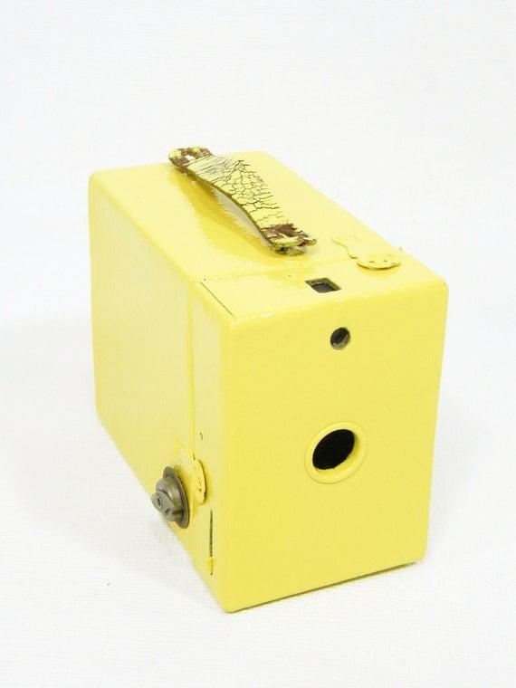 RESERVED for September Antique Box Camera YELLOW Kodak