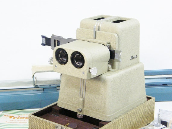 3D stereoscopic Slide Projector Vintage 1950's Fun complete package