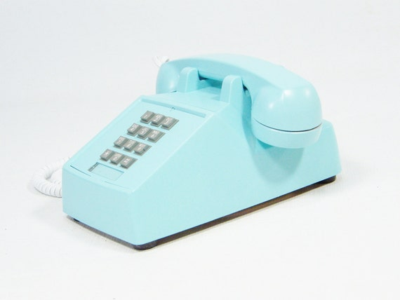 Ice Blue Phone Vintage push button telephone