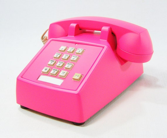 Vintage Phone Neon Pink push button telephone