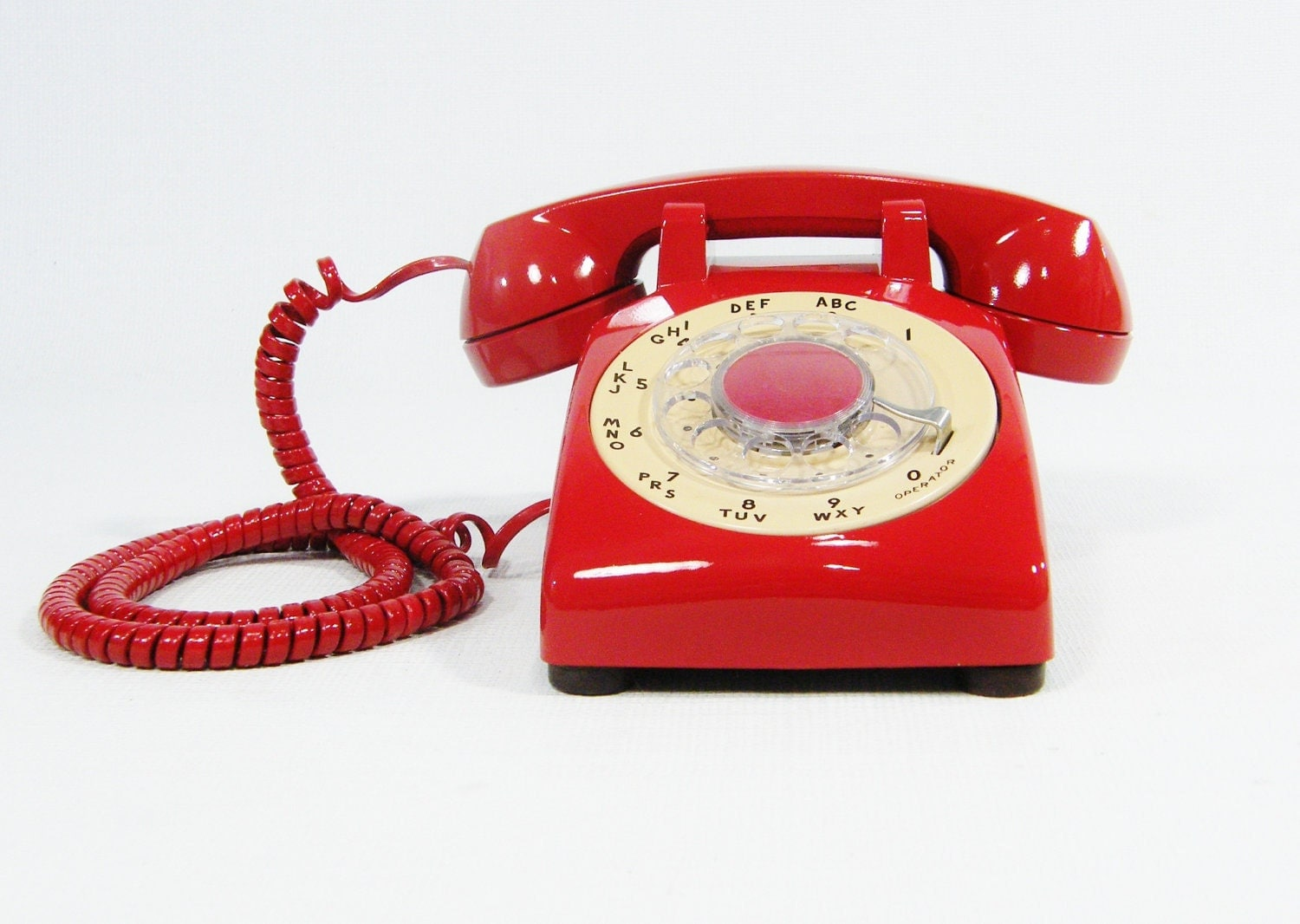 vintage telephone cherry red rotary dial phone. Black Bedroom Furniture Sets. Home Design Ideas