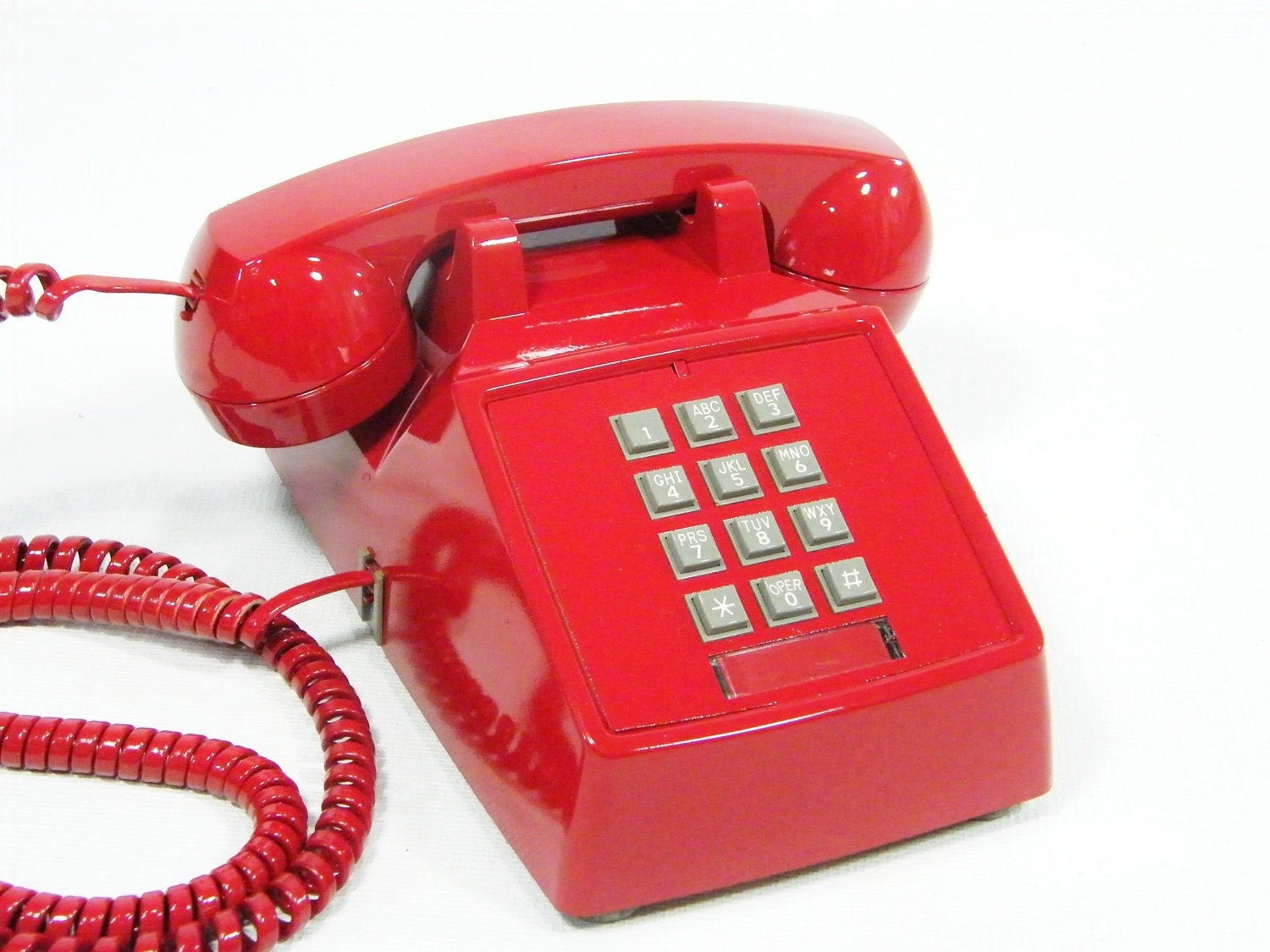 Vintage telephone Cherry Red push button phone by ohiopicker
