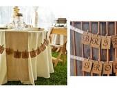 Just Married Banner - Bride and Groom Banner - Vintage Wedding - Rustic Wedding - Chair Signs