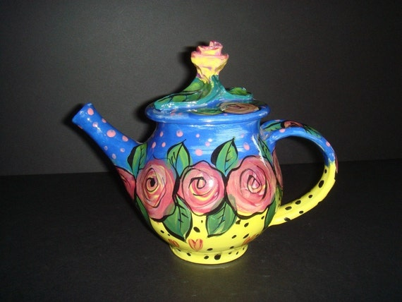 Vintage Handmade and Hand painted Ceramic Teapot