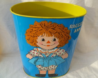Raggedy Ann and Andy Vintage Waste Basket
