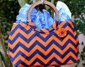 Orange and Blue Chevron Patter Purse with Wood Circle Handles