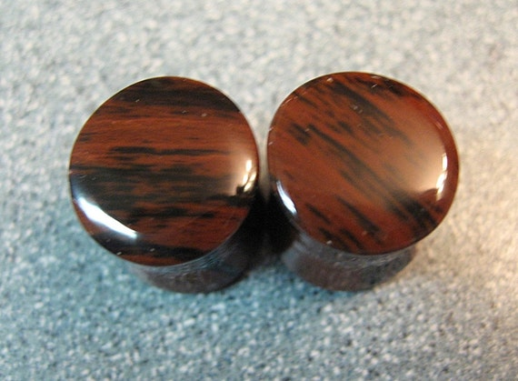00 Gauge Mahogany Obsidian Ear Plugs