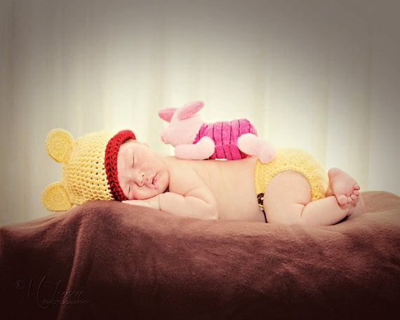 MADE TO ORDER Newborn Winnie the Pooh Crochet Hat and Diaper Cover Photography Prop