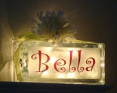 Girls night light-Name only glass block