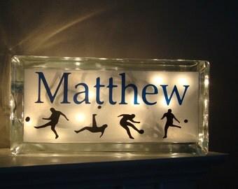 Boys room- Customized Sports Soccer Basketball night light glass block with vinyl lettering