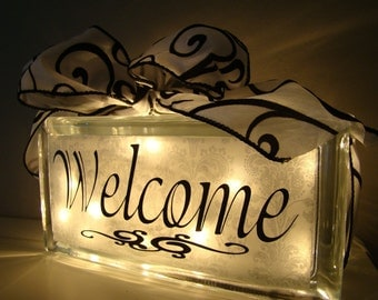 Welcome Glass block Night Light- Entryway or Hallway