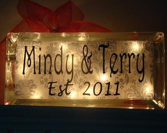 wedding reception anniversary or home custom name glass block light vinyl lettering