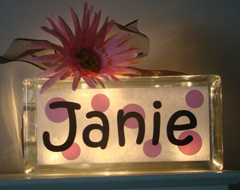 Personalized Girls room glass block night light-dots vinyl lettering