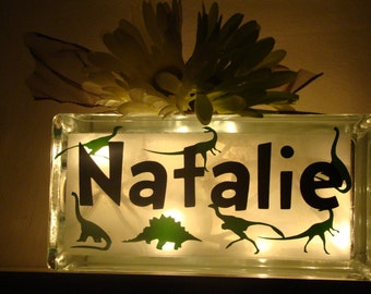 Glass Block Night light-Dinosaurs- Personalize with child's name - room decor- vinyl lettering