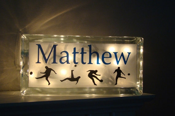 Boys Room Customized Sports Night Light Glass By