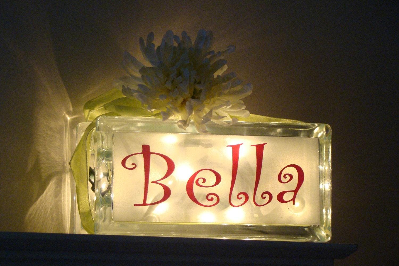 Girls Night Light Name Only Glass Block