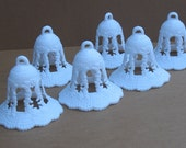 SALE  White Wedding Bell Decorations with Top Loop - Wedding or  Shower  CLEARANCE 12 PCS