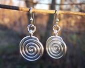 Celtic Swirl Spiral Earrings on french hook