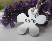 Personalized Handstamped Flower Necklace...Makes a great gift for your Flower Girls...Comes with either a pink or silver ball chain