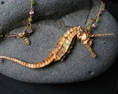 Bronze Seahorsicorn Pendant with Gold Watermelon Tourmaline Chain