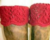 Boot Toppers -  Claret Scalloped Feather & Lace